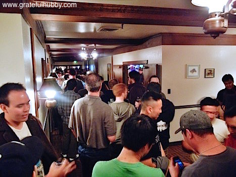 Lines stretching down the hallways of Harry's Hofbrau San Jose