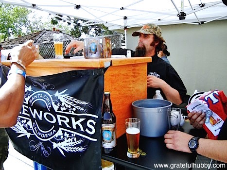 Mike Barker of Santa Cruz Ale Works and draft Hefeweizen Ale and IPA
