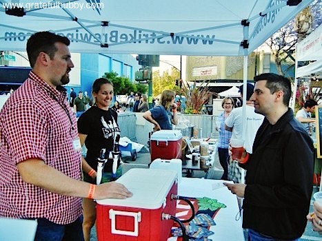 Drew Ehrlich and Jenny Lewis of Strike Brewing and Josh Santos of The San Jose Blog at the 2012 Better Brew Tasting Garden