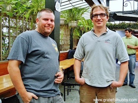 Steve Donohue (left) and Peter Licht (right) at the Hermitage Brewing Ale de Dieux biere de garde release party at Tied House in Mountain View
