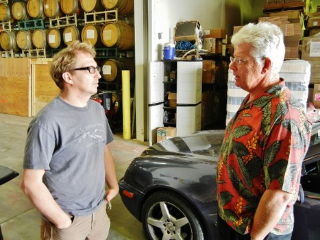 Tied House Microbrewery founder and owner Lou Jemison (r) chatting with Hermitage Brewing brewmaster Peter Licht (l), May 2012