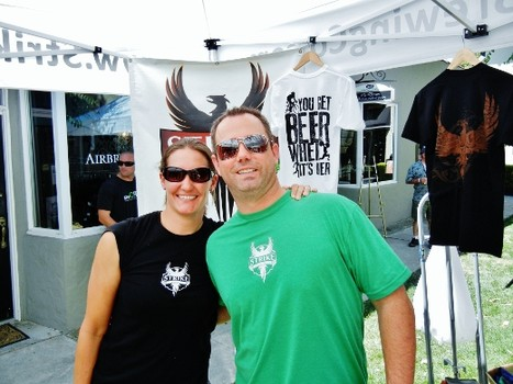 Strike Brewing Company's Jenny Lewis and Ben Lewis at a recent South Bay Beerwalk event.