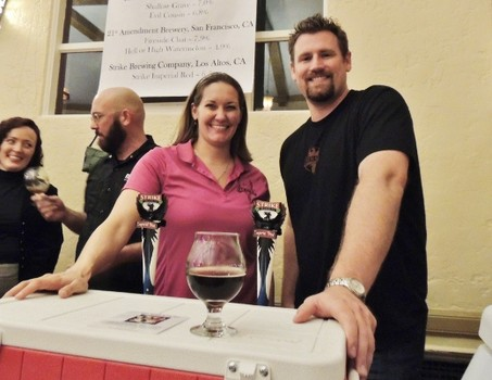 Strike Brewing Company's Jenny Lewis and Drew Ehrlich pouring Imperial Red at last year's KraftBrew Holiday Ball in San Jose