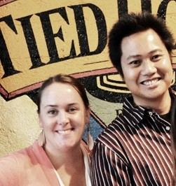 Carolyn Hopkins-Vasquez and Peter Estaniel at Tied House (photo courtesy of BetterBeerBlog)