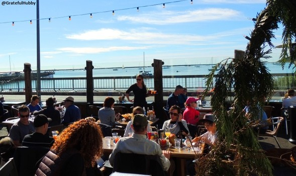 Outdoor patio with a view at Half Moon Bay Brewing Company