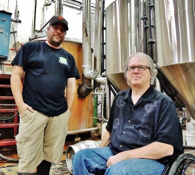 Santa Clara Valley Brewing brewmaster Steve Donohue (l) and CEO Tom Clark (r) on their inaugural brew day, April 26, 2013