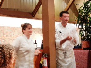 Sous Chef Madison Montoto and Executive Chef Mark Pettyjohn from a previous brewmaster's dinner