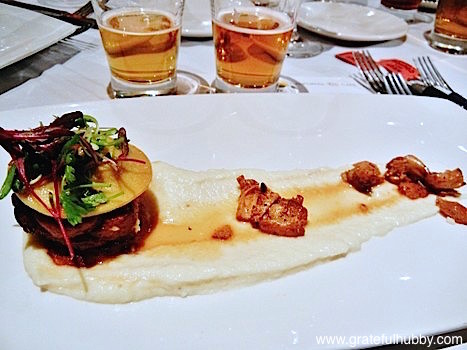 3rd course - braised veal breast, parsnip puree, roasted chanterelles with Tied House/Hermitage Brewing's Hop X and Palo Alto Brewing Atlas Double IPA