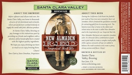 Beer Label for Santa Clara Valley Brewing Company New Almaden Imperial Red Ale