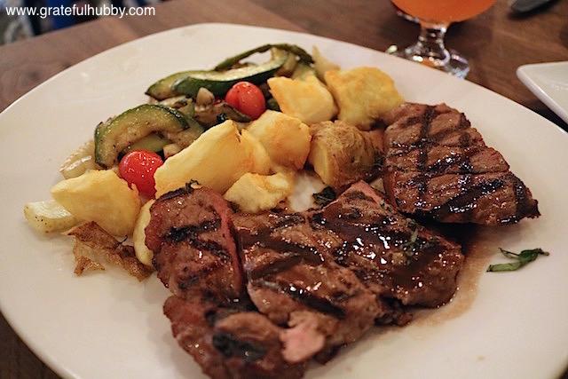 8 oz. New York Steak - red wine jus / crispy crushed potatoes / seasonal grilled vegetables at Eureka! Cupertino