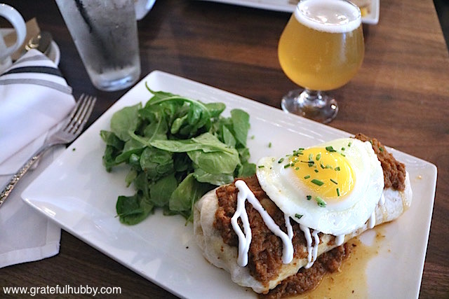 All Day Breakfast Burrito - carnitas / potatoes / pepper trio / ranchero sauce/ Monterey Jack / sour cream / fried egg / side of arugula with Toolbox Spring Shandy Berliner Weiss