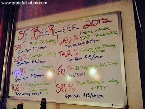 Signage of SF Beer Week events at Wine Affairs in San Jose