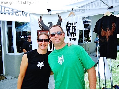 Jenny and Ben Lewis of Strike Brewing Co. at the SJ Beerwalk in downtown Campbell