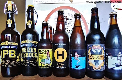 Bottled beers from South Bay's Gordon Biersch, Palo Alto Brewing, Hermitage Brewing, and Strike Brewing