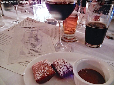 Fourth course - Imperial Russian Stout with cinnamon beignets (Mexican chocolate creme anglaise)