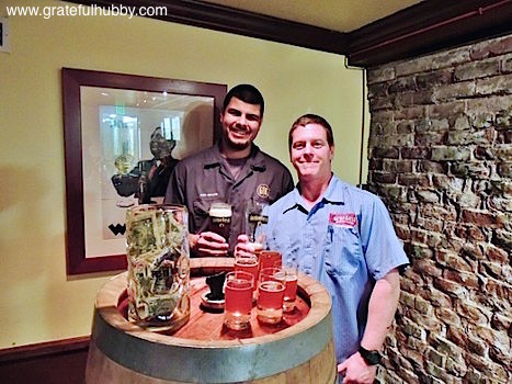 Gordon Biersch San Jose assistant brewer (l) and brewmaster Jeff Liles (r) at a December 2012 event featuring unfiltered Marzen from a wooden barrel