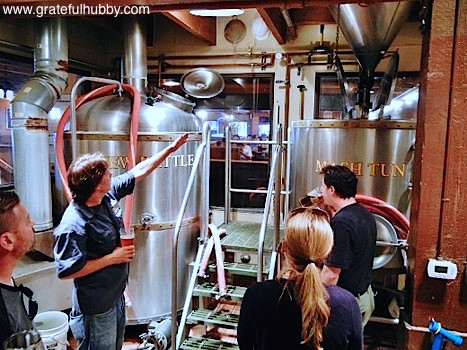 Rock Bottom Campbell brewmaster Russell Clements providing a brewery tour during American Craft Beer Week 2012