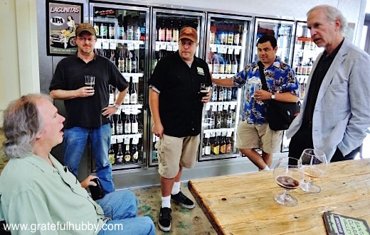 Photo from Peralta Porter release party in early July 2013: Santa Clara Valley Brewing CEO Tom Clark (left), SCVB brewmaster Steve Donohue (third from right), Sal Pizarro of the Mercury News (second from right) & former San Jose mayor Tom McEnery (right)