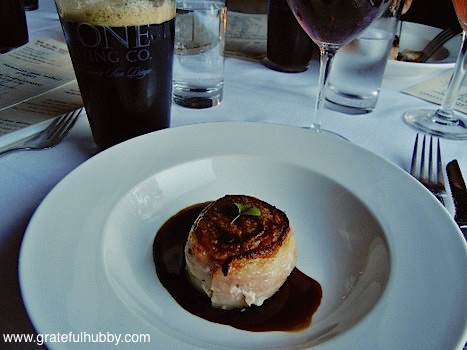 Second course - Sublimely Self Righteous black ale with pork tenderloin (wrapped in bacon, porcini cognac sauce)
