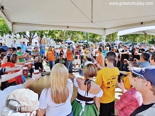 Stein-holding competition taking place at the Downtown Campbell Oktoberfest this past weekend
