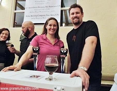 Strike Brewing Company CEO Jenny Lewis and brewmaster Drew Ehrlich at the recent KraftBrew Holiday Ball beer fest in San Jose