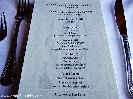 The menu from the Stone Brewing Co. beer pairing dinner at Restaurant James Randall this past June