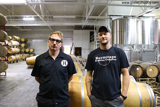 Hermitage Brewing Company brewmaster Peter Licht (right) and head brewer and cellarmaster Greg Filippi