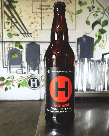 Hermitage Brewing Admiral Single Hop IPA, photo from Hermitage Brewing Company